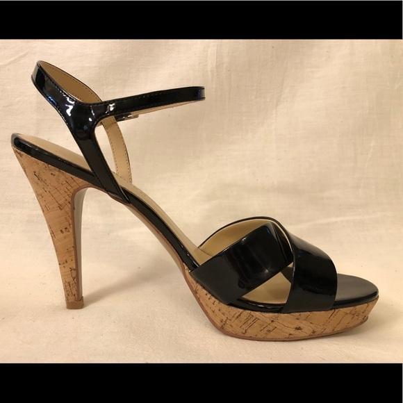 17a541540c Audrey Brooke Shoes | Patent Leather Cork Heels Size 8 | Poshmark
